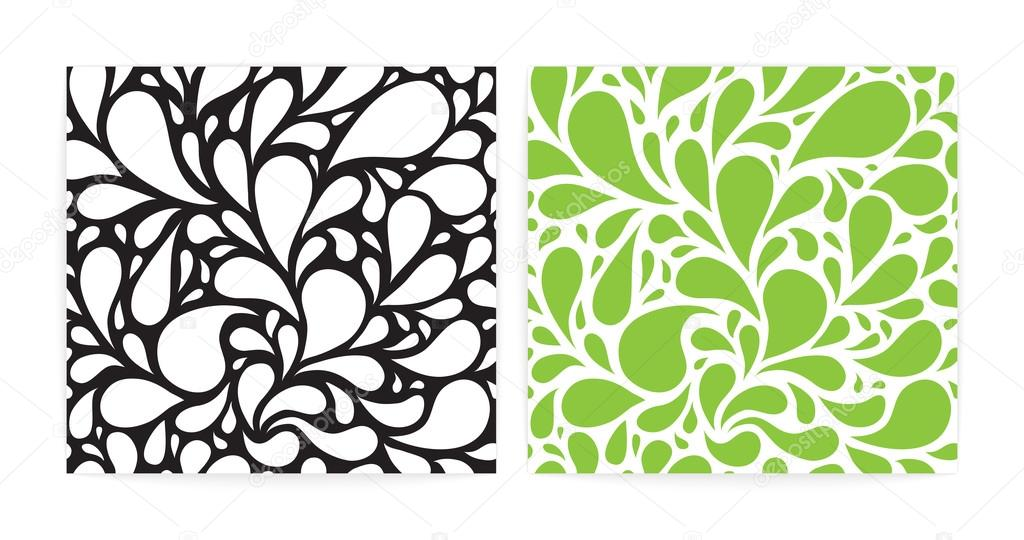 Seamless patterns set with funny drops. Black, white and green.