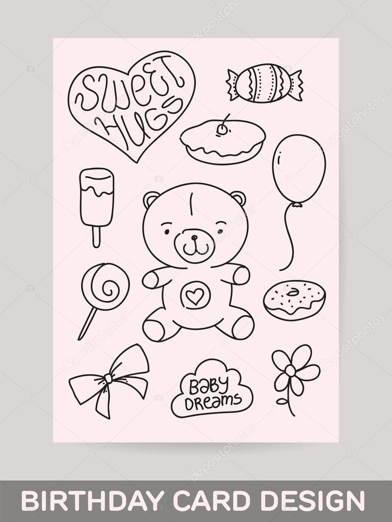 Kids hand drawn greeting card design with doodle teddy bear sweet kids hand drawn greeting card design with doodle teddy bear sweet food gift kristyandbryce Gallery