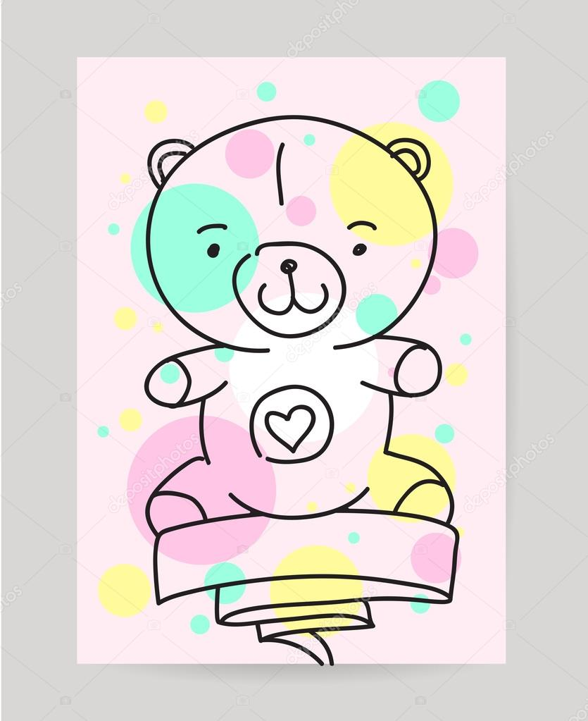 Kids Hand Drawn Greeting Card Design With Ribbon Doodle Teddy Bear
