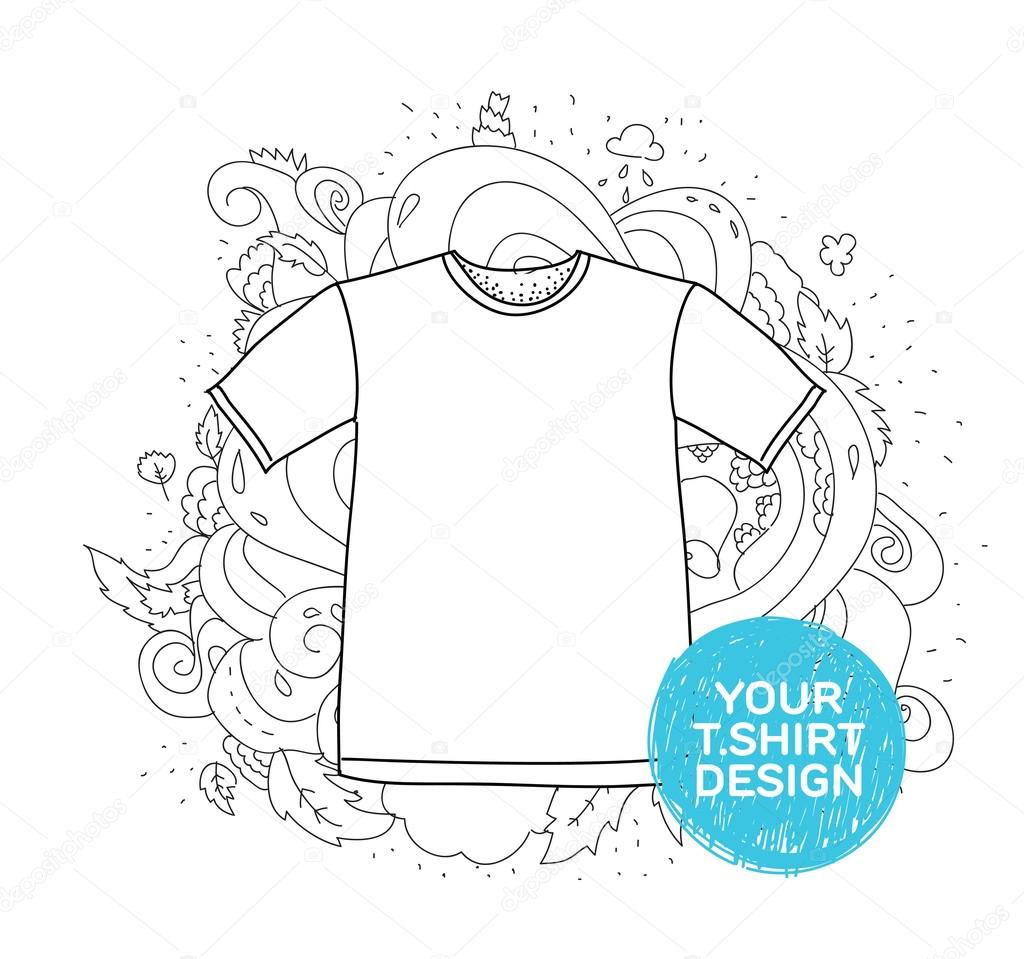 Blank T Shirt Design Concept Hand Drawn Style With Doodles Nice For Advertisement
