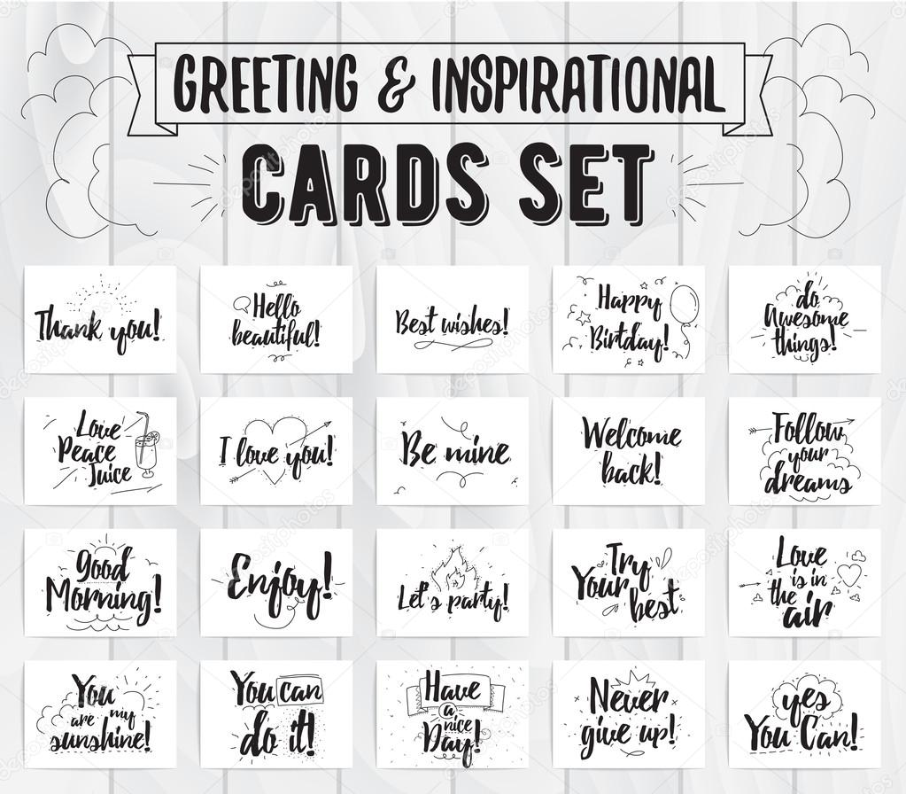 Greeting And Inspirational Cards Set Typographic Vector Design