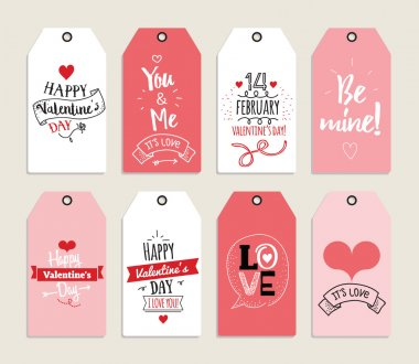 Valentines day gift cards, labels, and stickers. Template for Greeting Scrapbooking, Congratulations, Invitations, Planner, Diary, Notes. Quotes, typography.