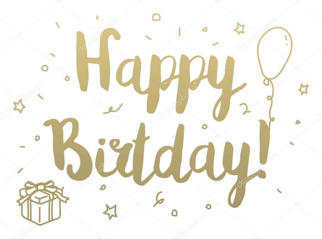 Happy Birthday Greeting Card With Modern Calligraphy And Hand Drawn Elements Isolated Typographical Concept