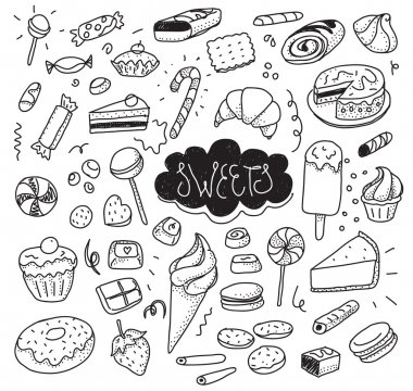 Hand drawn sweets and candies set. Vector doodles. Isolated food on white background.