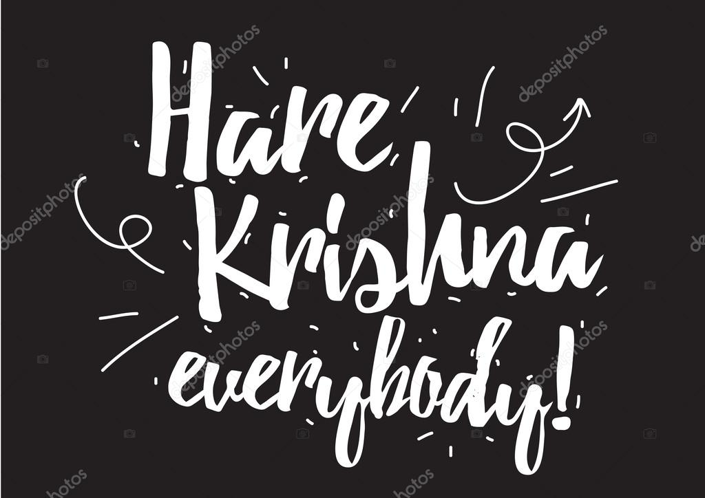 Hare Krishna Everybody Inscription Greeting Card With