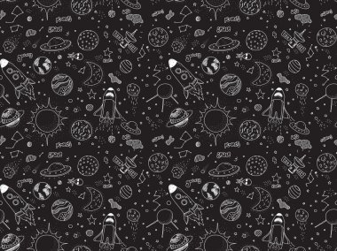 Seamless pattern. Cosmic objects set. Hand drawn vector doodles. Rockets, planets, constellations, ufo, stars, etc. Space theme.