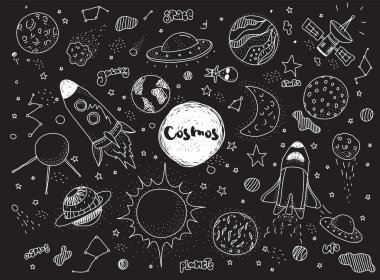 Cosmic objects set. Hand drawn vector doodles. Rockets, planets, constellations, ufo, stars, etc. Space theme.