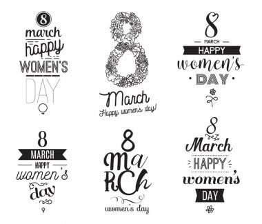 Eight march typographic design set. Happy womens day.