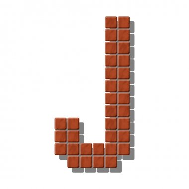 Letter J made from realistic stone tiles