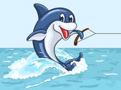 Mosolyogva delfin túrák a farkát, vízisí