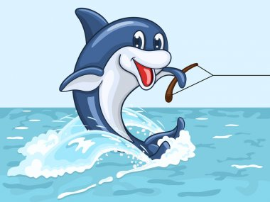 Smiling dolphin rides on his tail as on water skis