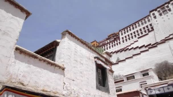 Potala temple wall. Potala place in Lhasa. Sacred Buddhist place.