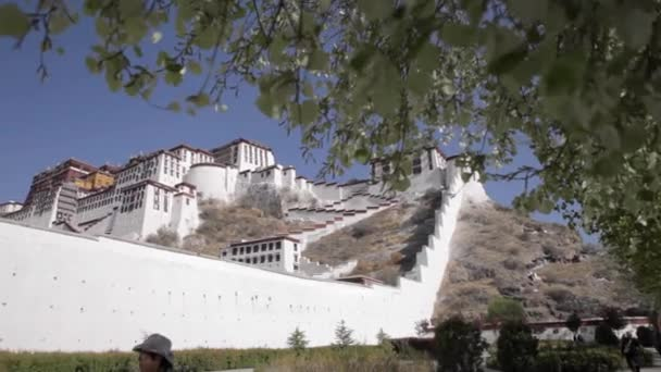 Staircase and wall of the Potala. Potala place in Lhasa.
