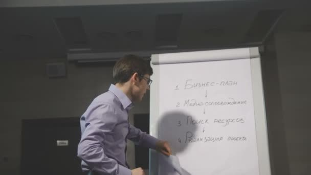 Business man giving a presentation speech with flipchart in office