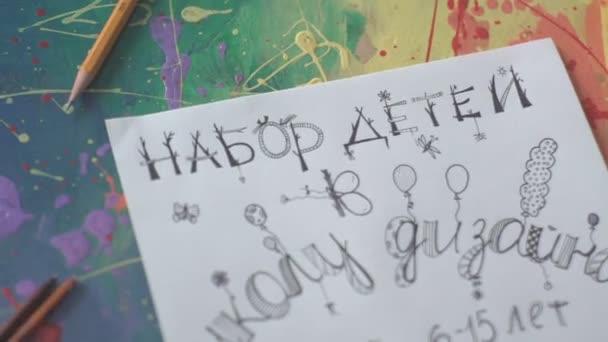 Artistic Letter Fancy Fonts Table Artist Stock Video