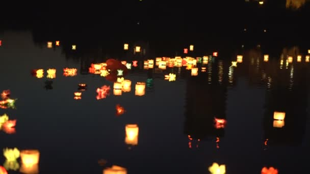 Festival of water lanterns. Water lanterns on the water.