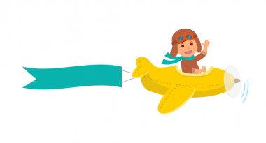Cute boy pilot flies on a yellow plane in the sky. Air adventure. Isolated cartoon vector illustration