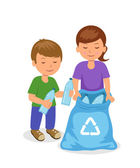 Photo Cute kids to gathering plastic bottles in garbage bag. The concept of environmental protection. Isolated boy and girl characters volunteers.