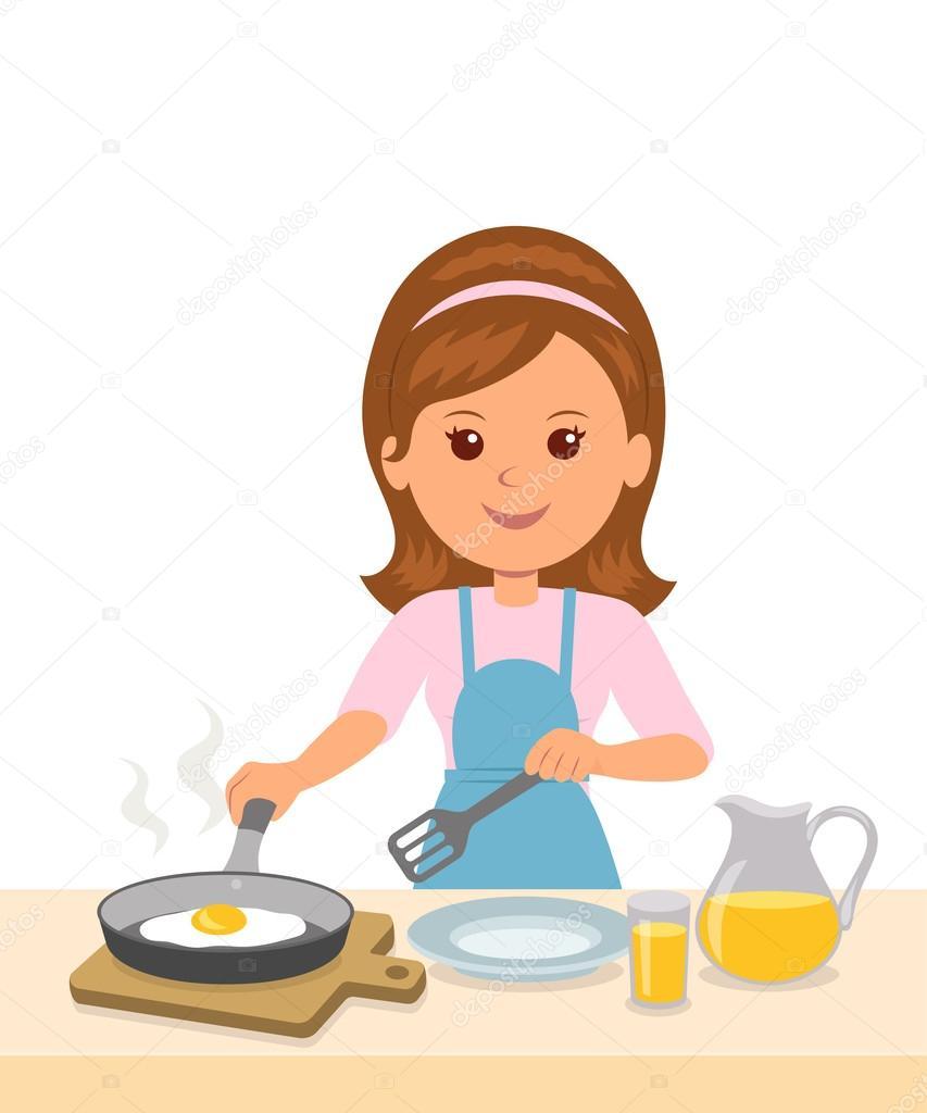 Linda chica en un delantal prepara una tortilla mam a for Cocinar imagenes animadas