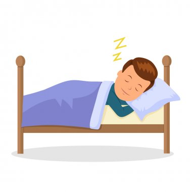 Child is sleeping sweet dream. Cartoon baby sleeping in a bed. Isolated vector illustration