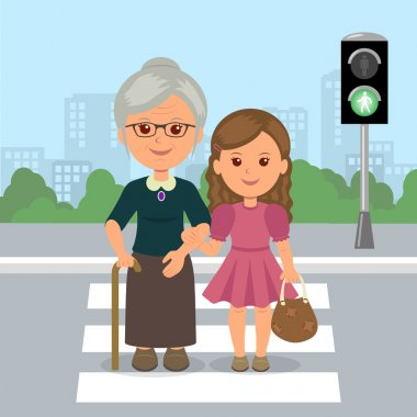 Young girl helps old woman to cross the road at a pedestrian crossing. Help the elderly. Safety traffic.