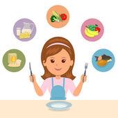 Dívka se rozhodne, co nejí potravinových skupin: moučné, mléčné výrobky, zelenina, ovoce a masa. Volba správné výživy. Péče o vaše zdraví a tělo