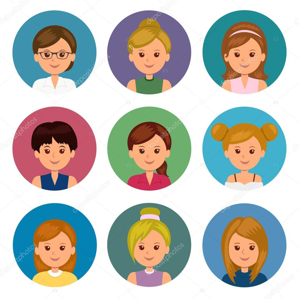 set of avatars girls with different hairstyles collection icons
