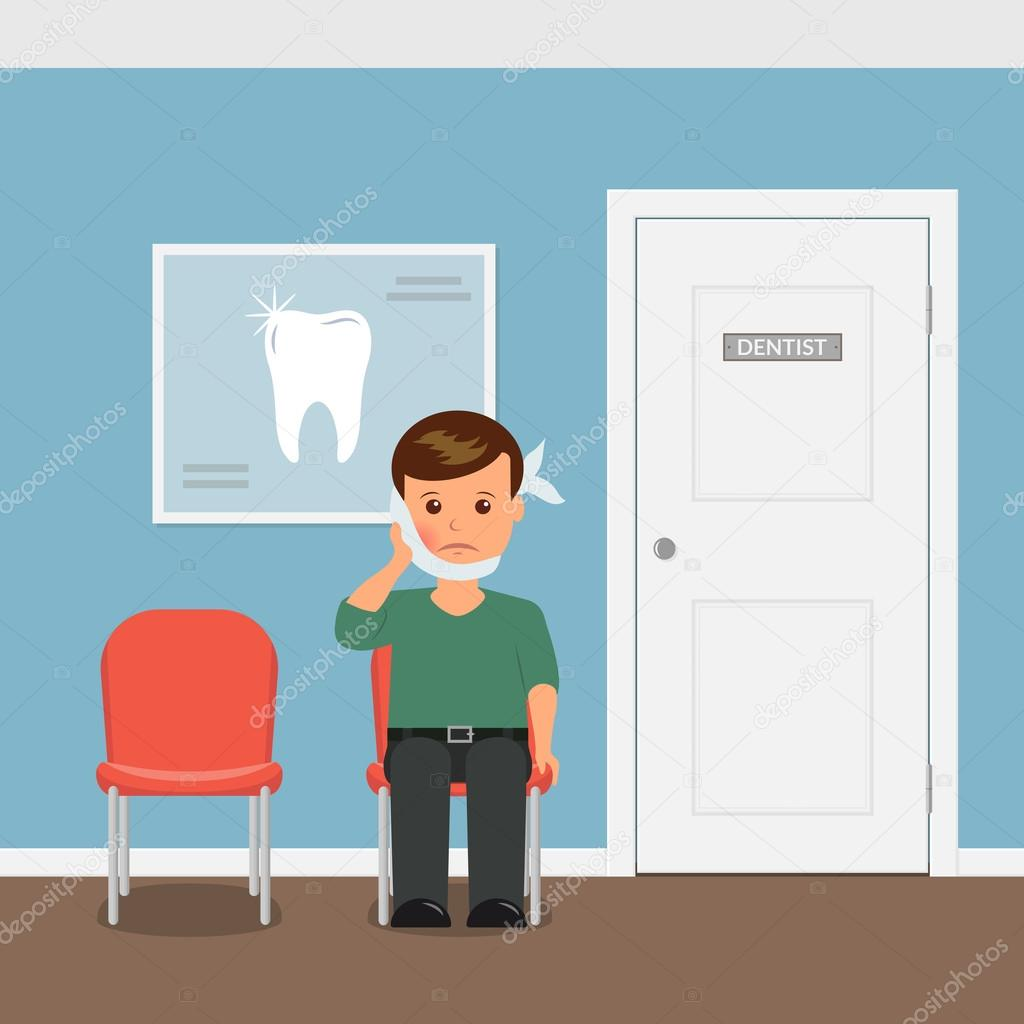The patient with toothache sitting on the chair waiting for an the patient with toothache sitting on the chair waiting for an invitation to the dentists office boy with swelling of the cheek and a bandage stopboris Image collections