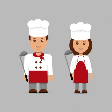 Man and woman in the form of chefs.