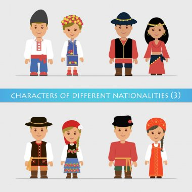 Set of isolated characters in traditional national costumes.