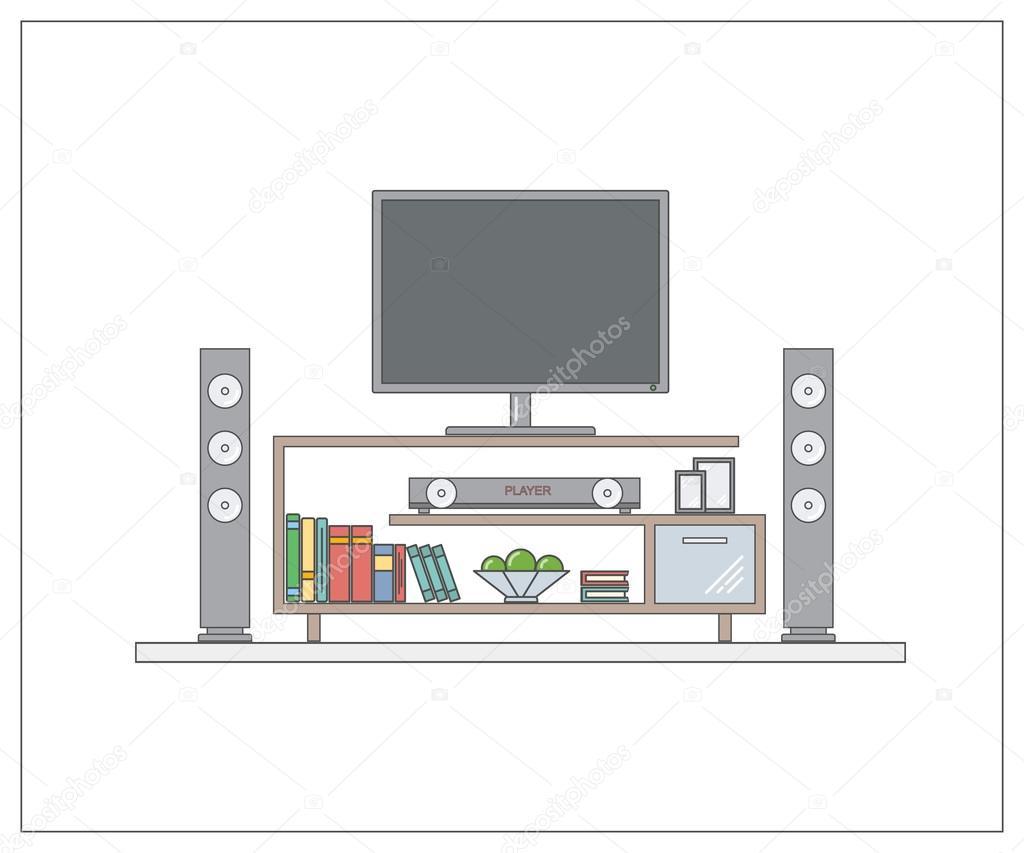 Modernes Heimkino Im Wohnzimmer. Eine Seite Web Entwurfsvorlage Mit Dünne  Linie. Konzept Für
