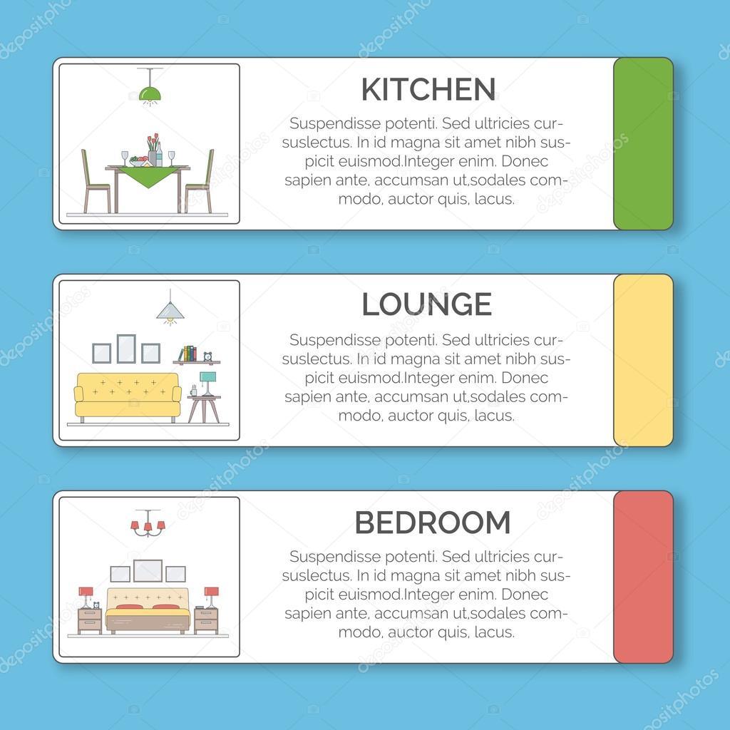 Infographik Elemente der Innenarchitektur. Küche, Lounge ...