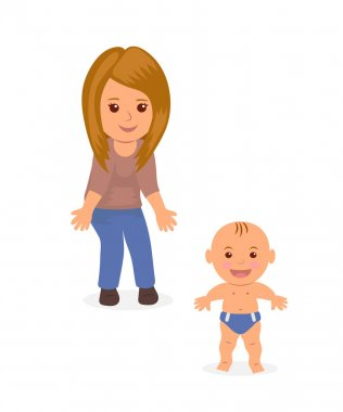 Young mom helps his baby to make the first steps. Child learning to walk. Concept design, isolated characters mother and baby