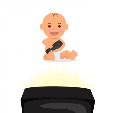 Cheerful toddler sitting and watching TV. Isolated character baby with remote control in hand