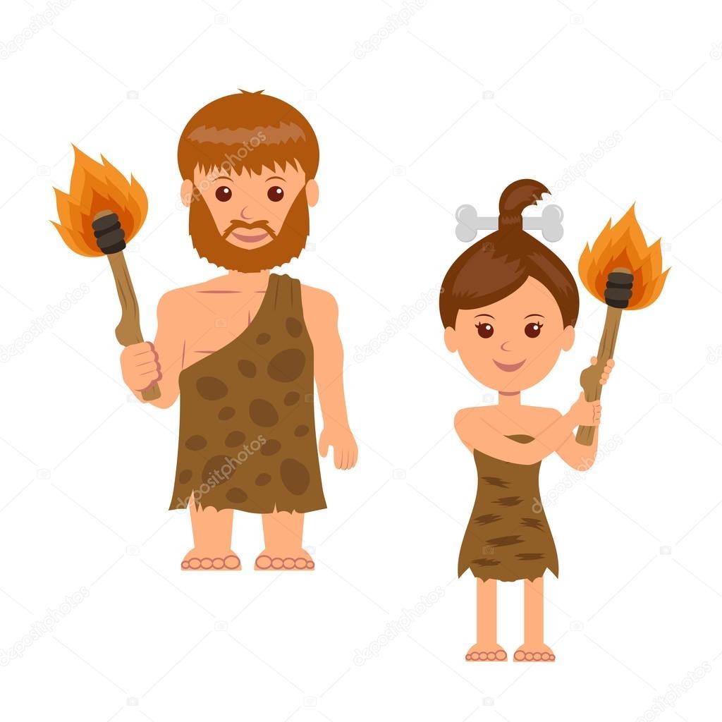 Uomo delle caverne un uomo e una donna con una torcia in mano
