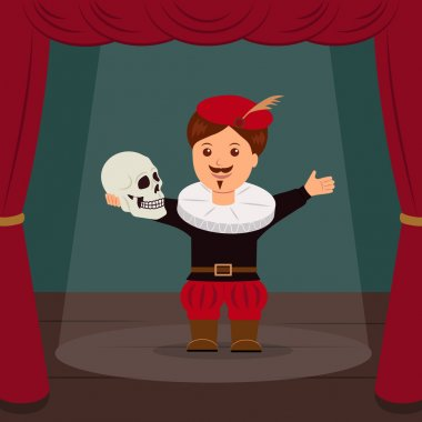 Actor on scene of the theater, playing a role Hamlet. Concept World Theatre Day