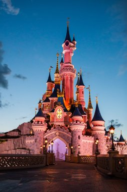 Disneyland Paris Castle illuminated at sunset.