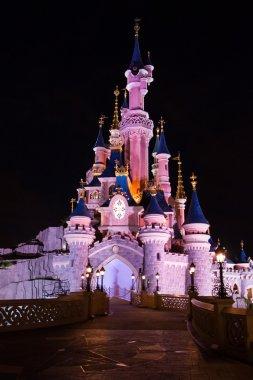 Disneyland Paris Castle illuminated at night