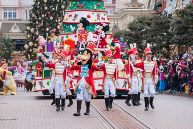 Disney Christmas Parade in Disneyland Paris.