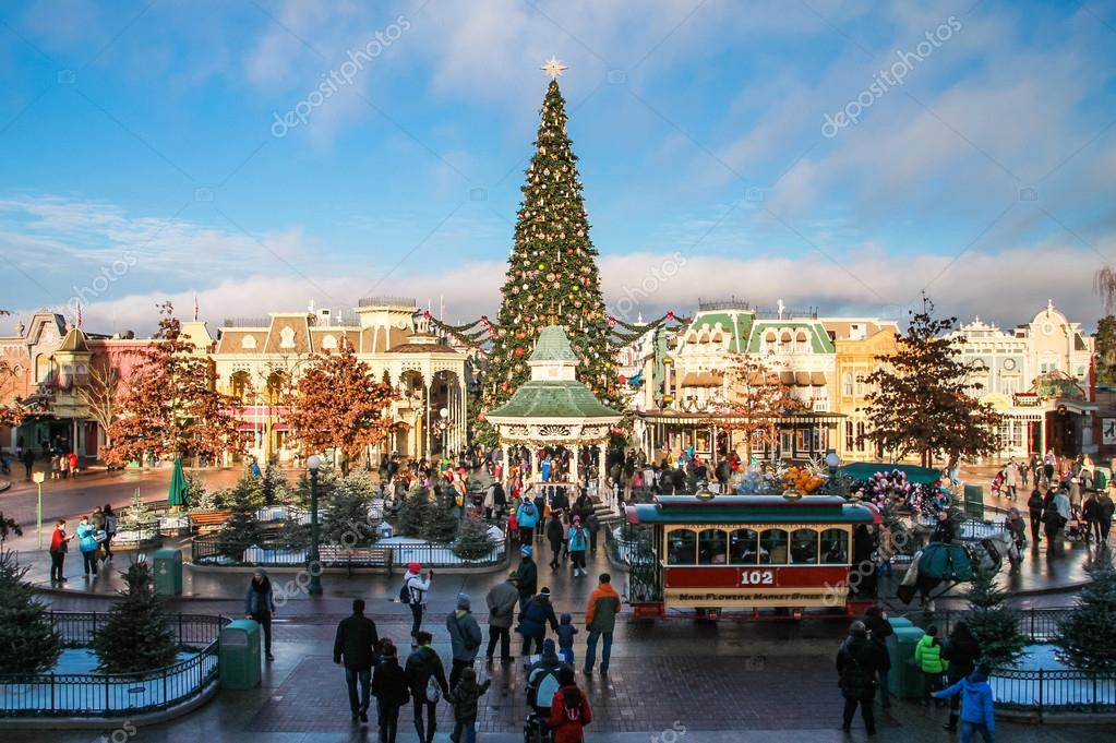 Disneyland Paris Castle during Christmas Celebrations at night