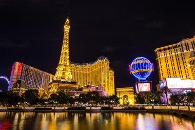 View of the Paris Las Vegas hotel and casino at night, Las Vegas