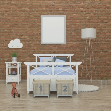 kids bedroom interior 3d rendering image