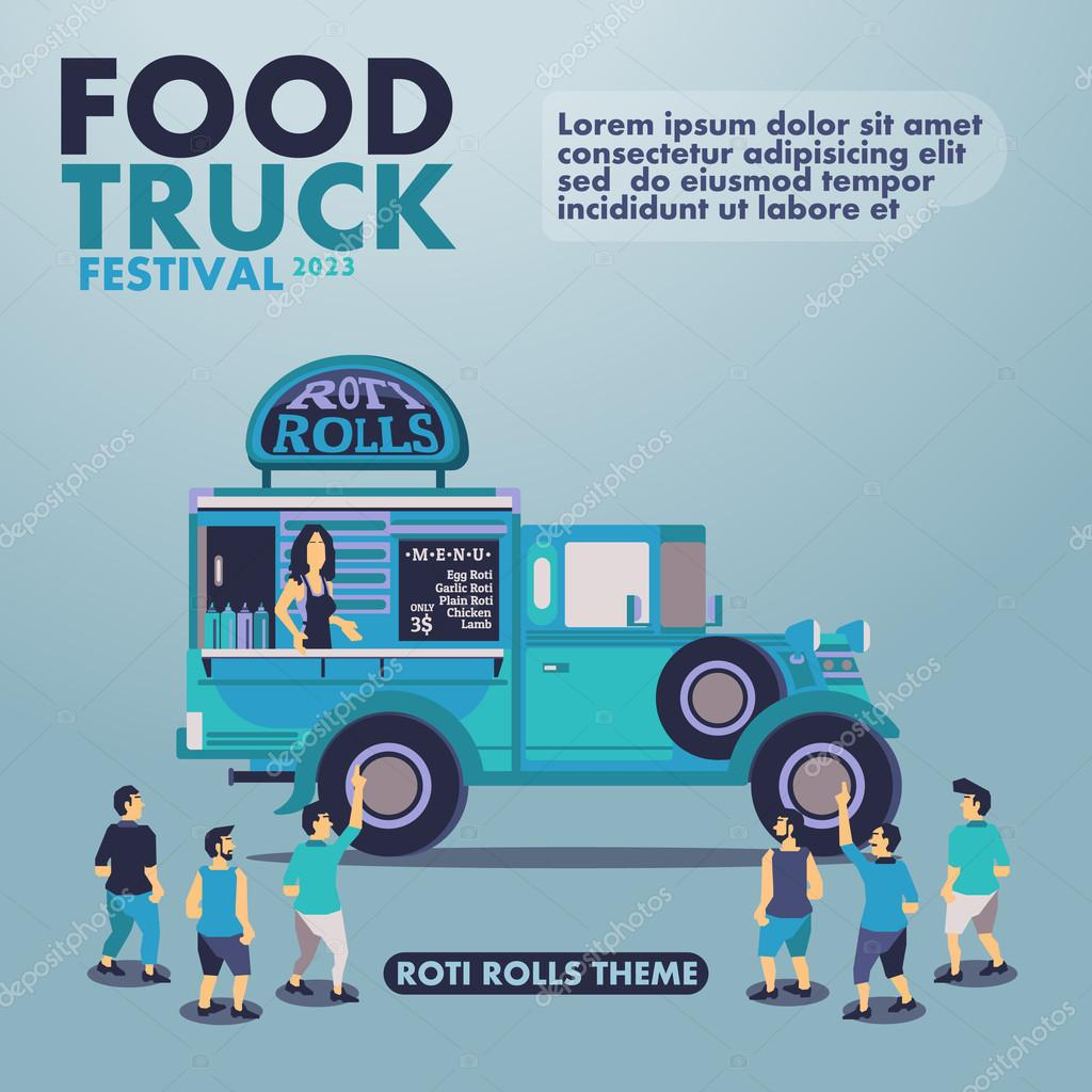 Food truck festival poster with gourmet,Roti rolls theme