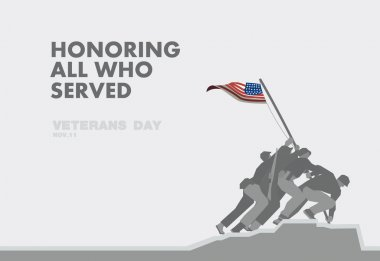 Honors Veterans day,the monument and flag flat theme