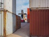 Photo Port with containers, crane and stacker