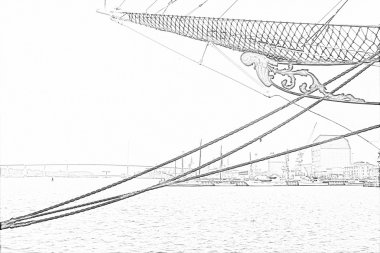 Pencil drawing of the harbour of city Stralsund with sailing ship at the foreground