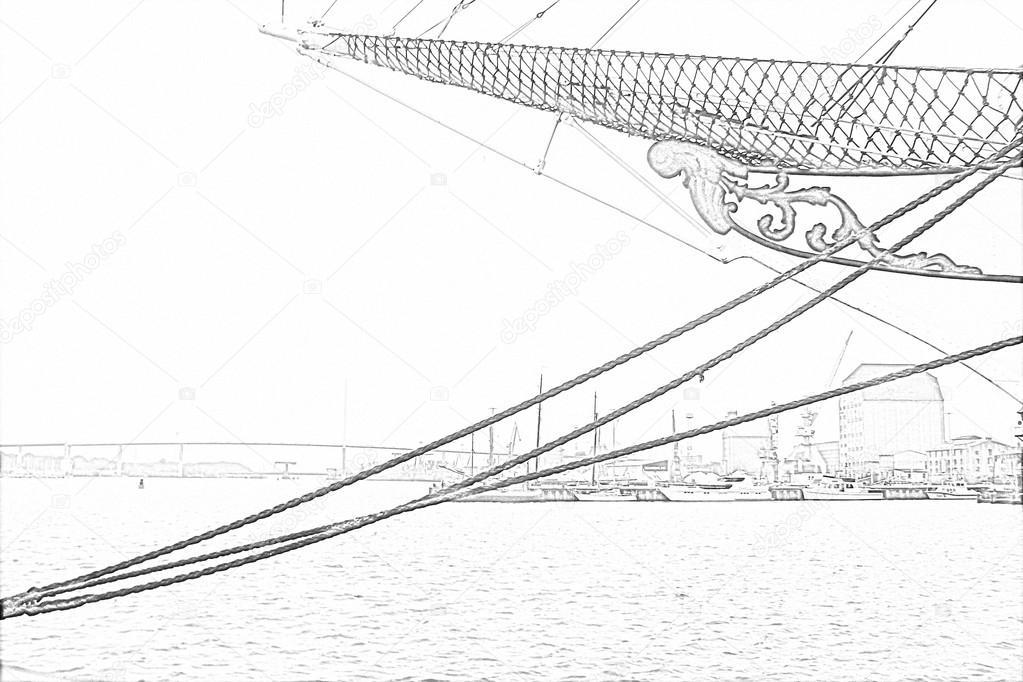 Segelschiff bleistiftzeichnung  Bleistiftzeichnung auf den Hafen der Stadt Stralsund mit ...