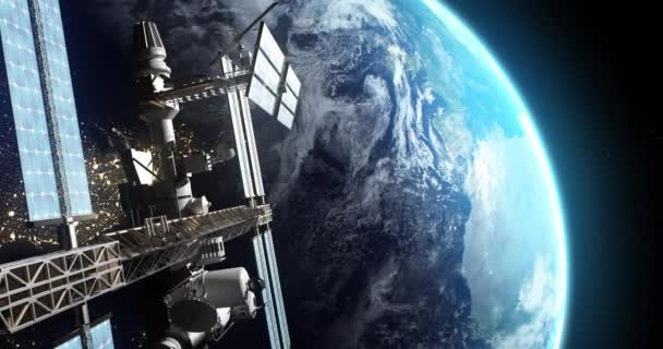 Artificial satellite flying over Earth