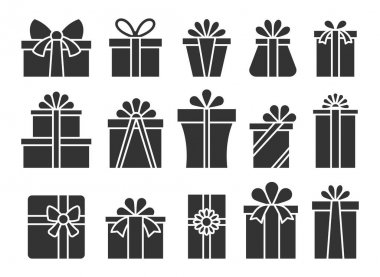 Gift box flat icon set. Happy birthday, Merry Christmas, New Year present package symbol. Simple silhouette giftbox ribbon bow pictogram pack. Holiday celebration Valentine day surprise parcel sign icon