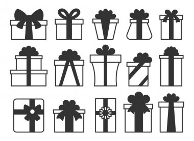 Gift box glyph icon set. Simple outline giftbox with ribbon bow pictogram pack. Happy birthday, Merry Christmas New Year present package symbol. Holiday celebration Valentine day surprise parcel sign icon